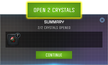 Screenshot of crystal rewards, with the button to open multiple crystals at once highlighted