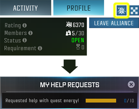 Screenshot of the Alliance Profile with the Active Requests button highlighted and Screenshot of the My Help Requests within the Active Requests tab