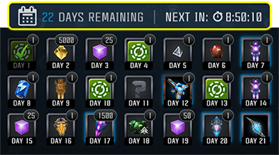 Screenshot of a sample monthly, progressive login calendar, showing the rewards for each day