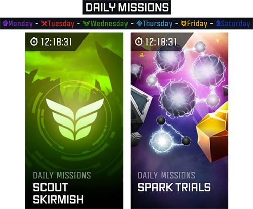 A screenshot showing daily mission examples