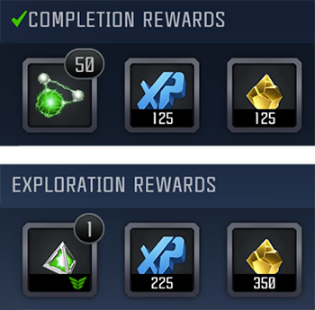 A screenshot showing examples of completion and exploration rewards