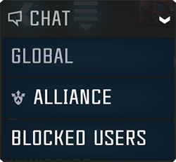 A screenshot of the chat dropdown that allows you to switch between global and alliance chat.