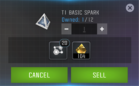 A screenshot of the menu that appears when selling a spark.