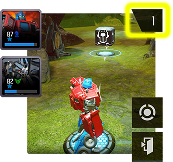 A screenshot of a mission with the storage button highlighted in the top right of the screen.
