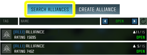 Screenshot of the alliance search window showing the results of the search and highlighting the Search Alliances tab
