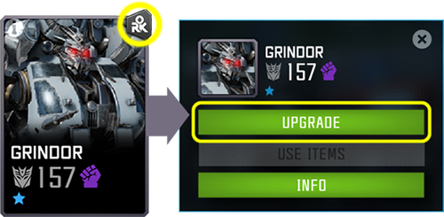 Screenshot showing the rank up icon and the upgrade screen with the Upgrade button highlighted