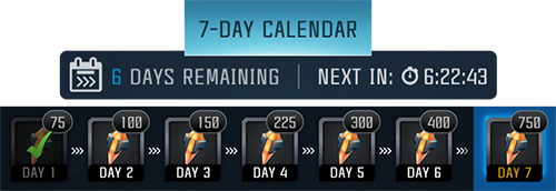 Screenshot of a sample 7-day login calendar, showing the rewards for each day