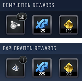 A screenshot showing examples of daily mission completion and exploration rewards