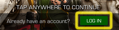Screenshot asking if you already have an account? with the Log In button highlighted