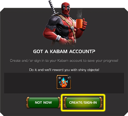 Screenshot of Got a Kabam Account? screen
