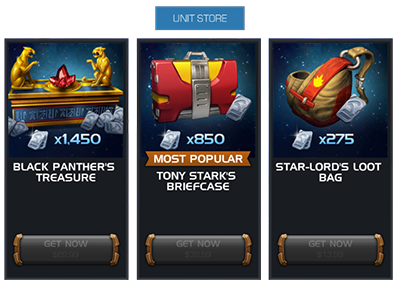 Screenshot of several Unit Store options with greyed out buttons