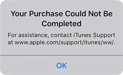 Screenshot of error Your Purchase Could Not Be Completed