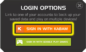 Screenshot of the Login Options screen with the Sign In with Kabam button highlighted