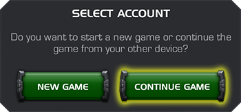 The Select Account menu with a New Game and Continue Game buttons. The Continue Game is highlighted.
