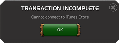 Screenshot of error Cannot Connect to iTunes Store
