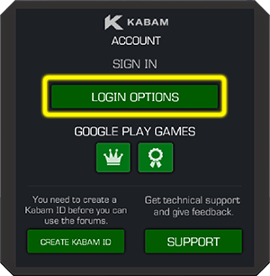 Screenshot of Kabam account login with the login options button highlighted