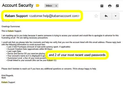 Screenshot of a phishing email attempting to obtain your credentials from an unofficial email domain of kabamaccount.com
