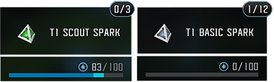 Screenshot of two different spark and essence capacities