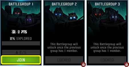 Screenshot of three potential alliance mission battlegroups