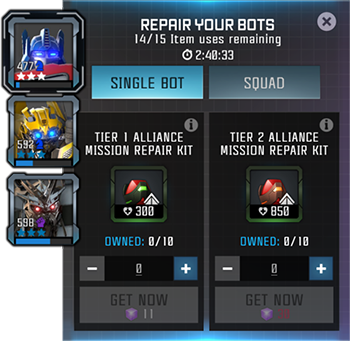 Screenshot of the alliance mission repair kit interface