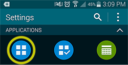 Screenshot showing Settings screen in some Android devices with the Applications icon highlighted