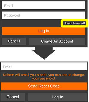 Screenshot showing Kabam login screen with the Forgot Password link highlighted and subsequent screenshot showing Email field for sending a reset code