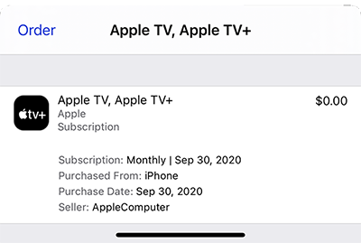 Screenshot of the individual purchase details of an iTunes order