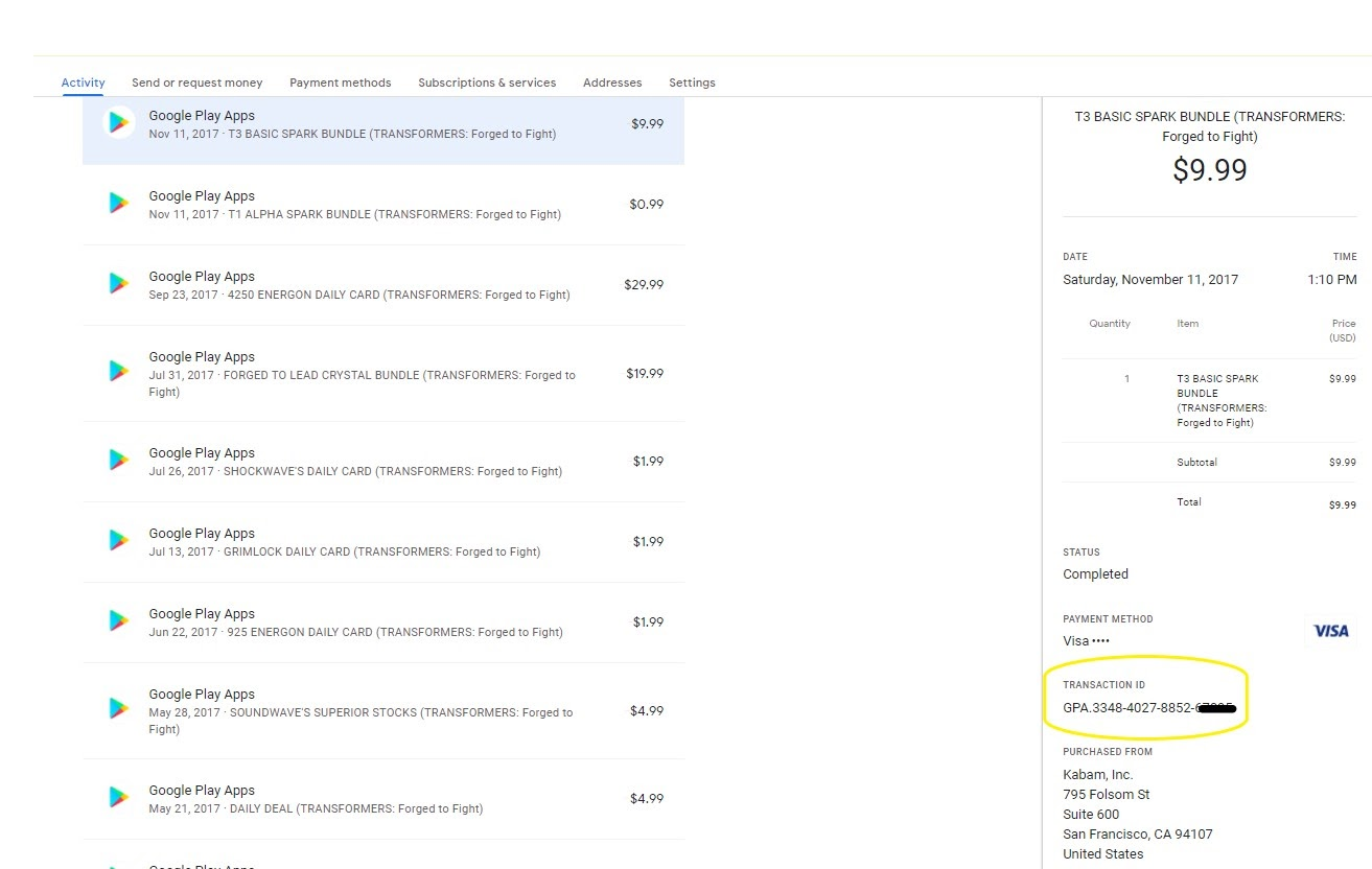 Screenshot of the Order History of a Google Play account with an order selected showing the Transaction Details and the Transaction ID highlighted.