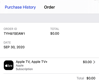 Screenshot of an iTunes Order including order ID, date, and total