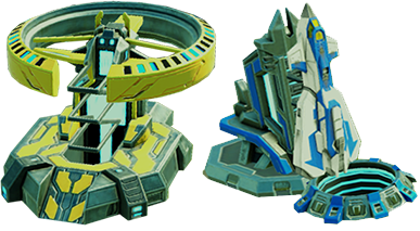 Images of the alliance main building and away mission base element as they appear in the game