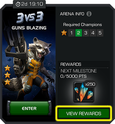A screenshot of the three versus three arena info display with the view rewards button highlighted.
