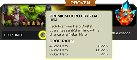 A screenshot of an in-game example of the drop rate information that is displayed for each crystal. This information includes the crystal name, a brief description, and the percentage rate of getting what's inside.