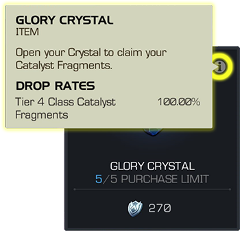 Screenshot of a Glory Crystal store item with the Drop Rates i icon highlighted and the Drop Rates screen overlaid