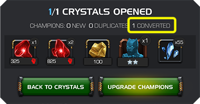 A screenshot of an opened crystal that has converted a duplicate champion to a signature ability and provided the appropriate rewards.