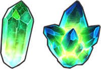 An image of the lesser and greater solo event crystals.