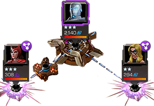 An screenshot of two opponents providing buffs to one opponent via linked nodes.