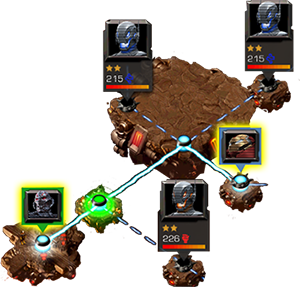 A screenshot of part of an alliance quest map, with two alliance members, participating.