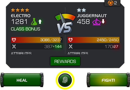 A screenshot of the window before the arena battle takes place. The auto-fight battle icon is highlighted below.