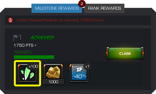 A screenshot of the milestone rewards menu with the green claim button on the left side of the screen and the solo event crystal shards highlighted.