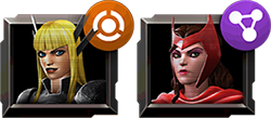 An image of two champion icons with a buff and a linked node icon attached.
