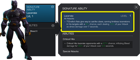 An image of Black Panther's signature ability menu detailing their Lacerate ability.