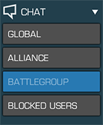A screenshot of the chat window with the battlegroup tab highlighted and available when in an alliance quest.