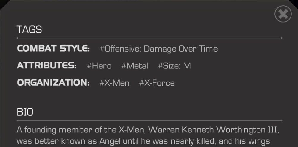 A screenshot of a Champion's tags, as seen on the details page.