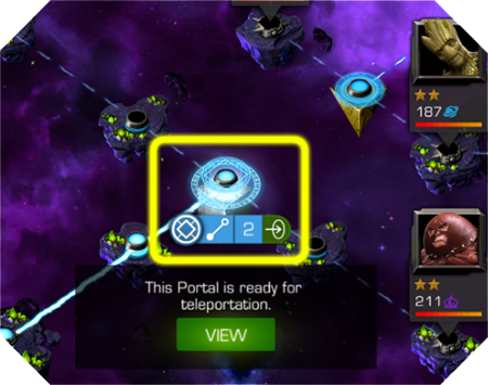 A screenshot of a direct portal node highlighted and ready to enter on a quest map.