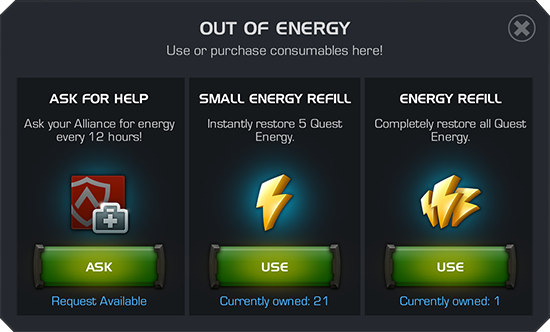 A screenshot of the menu that appears when you have run out of energy with options to ask your alliance for help or use energy refills.