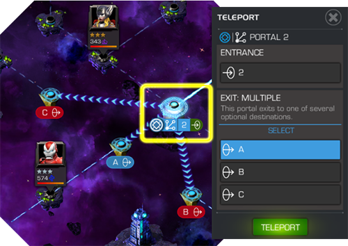 A multiple portal node displaying its possible destinations, with the green TELEPORT button appearing on the left side of the screen.