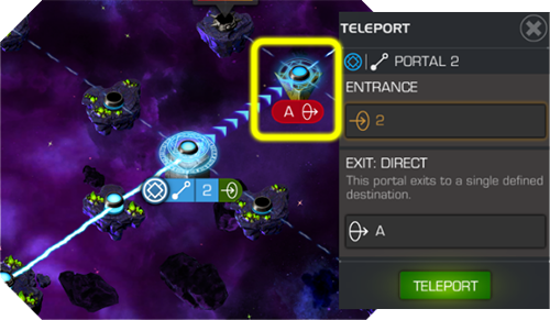 A direct portal displaying its destination node, with the green TELEPORT button appearing on the left side of the screen.
