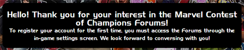 Screenshot of the Marvel Contest of Champions forum registration prompt