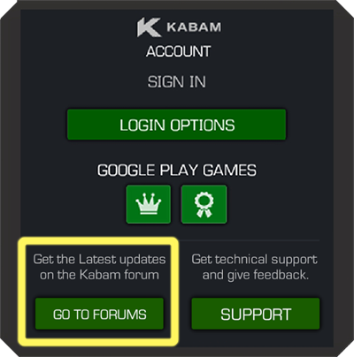 Screenshot of Kabam Account Sign In with the Go To Forums button highlighted
