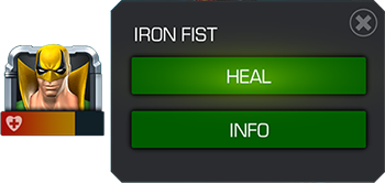 A screenshot of the Champion detail screen with the green HEAL button highlighted.